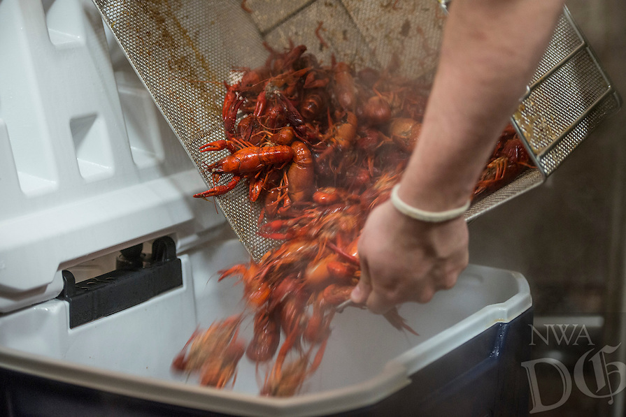 NWA Democrat-Gazette/ANTHONY REYES &bull; @NWATONYR<br /> Fresh boiled crawfish Wednesday, April 15, 2015 at The Hive, inside the 21C hotel in Bentonville. Many boils happen this time of year. The Hive's boil featured a four course meal with crawfish flown in fresh from the gulf coast. Chef Matt McClure created each dish.
