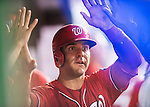 23 July 2016: Washington Nationals infielder Danny Espinosa returns to the dugout after scoring against the San Diego Padres at Nationals Park in Washington, DC. The Nationals defeated the Padres 3-2 to tie their series at one game apiece. Mandatory Credit: Ed Wolfstein Photo *** RAW (NEF) Image File Available ***