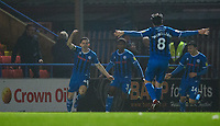Rochdale's Ian Henderson, left, celebrates scoring his side's second goal <br /> <br /> Photographer Chris Vaughan/CameraSport<br /> <br /> The EFL Sky Bet League One - Rochdale v Blackpool - Wednesday 26th December 2018 - Spotland Stadium - Rochdale<br /> <br /> World Copyright &copy; 2018 CameraSport. All rights reserved. 43 Linden Ave. Countesthorpe. Leicester. England. LE8 5PG - Tel: +44 (0) 116 277 4147 - admin@camerasport.com - www.camerasport.com