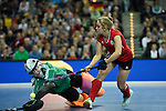 Leipzig, Germany, February 08: Barbora Cechakova #1 of Czech Republic makes a save during shoot-out against Lisa Steyrer #27 of Austria during the women bronze medal match between Austria (red) and Czech Republic (blue) on February 8, 2015 at the FIH Indoor Hockey World Cup at Arena Leipzig in Leipzig, Germany. Final score 0-2 after shoot out (0-0). (Photo by Dirk Markgraf / www.265-images.com) *** Local caption ***