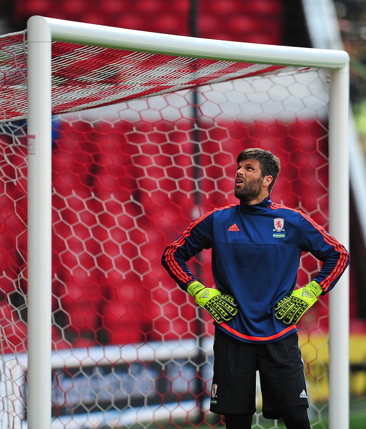 Middlesbrough's Dimitrios Konstantopoulos during the pre-match warm-up <br /> <br /> Photographer Chris Vaughan/CameraSport<br /> <br /> Football - The Football League Sky Bet Championship - Nottingham Forest v Middlesbrough - Saturday 19th September 2015 - City Ground - Nottingham<br /> <br /> &copy; CameraSport - 43 Linden Ave. Countesthorpe. Leicester. England. LE8 5PG - Tel: +44 (0) 116 277 4147 - admin@camerasport.com - www.camerasport.com