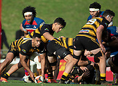 Tofaga Iese prepares to clear the ball from a ruck. Counties Manukau Premier 1 McNamara Cup Final between Ardmore Marist and Bombay, played at Navigation Homes Stadium on Saturday July 20th 2019.<br />  Bombay won the McNamara Cup for the 5th time in 6 years, 33 - 18 after leading 14 - 10 at halftime.<br /> Photo by Richard Spranger.