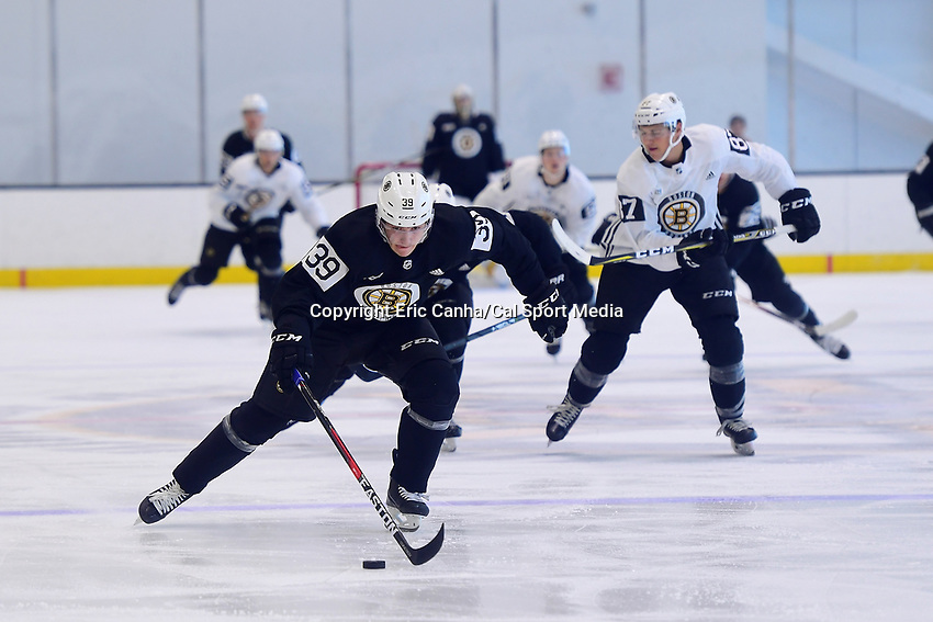 June 29, 2018: Boston Bruins forward Jakub Lauko (39) charges up the ice during a scrimmage at the Boston Bruins development camp held at Warrior Ice Arena in Brighton Mass. Eric Canha/CSM