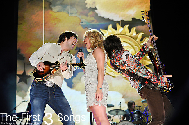 Neil Perry, Kimberly Perry, and Reid Perry of The Band Perry performs at LP Field during the 2012 CMA Music Festival on June 08, 2012 in Nashville, Tennessee.
