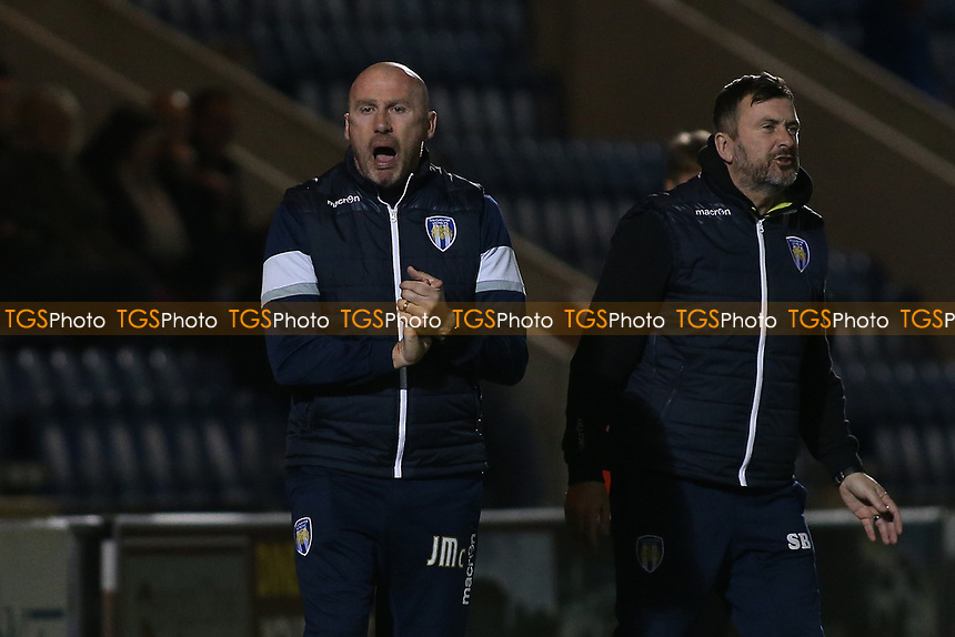 Colchester United manager John McGreal (L) during Colchester United vs Mansfield Town, Sky Bet EFL League 2 Football at the Weston Homes Community Stadium on 14th March 2017