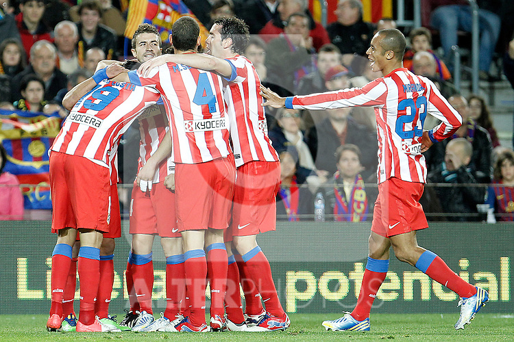Atletico de Madrid's players celebrate goal during La Liga match.December 16,2012. (ALTERPHOTOS/Acero)
