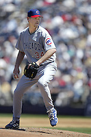 Kerry Wood of the Chicago Cubs pitches during a 2002 MLB season game against the San Diego Padres at Qualcomm Stadium, in San Diego, California. (Larry Goren/Four Seam Images)