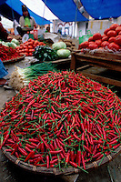 Red Peppers in large tray at Sapa Market, Vietnam