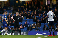 Tottenham Hotspur Captain, Christian Maghoma, is shown a red card by referee, Mr Adrian Quelch during Chelsea Under-23 vs Tottenham Hotspur Under-23, Premier League 2 Football at Stamford Bridge on 13th April 2018