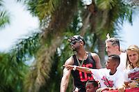 "Dwyane ""Dwade"" Wade at Miami Heat NBA 2013 Championship parade, Biscayne Boulevard, American Airlines Arena, Miami, FL, June 24, 2013"