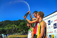 Nick Willis celebrates winning the men's 1500m final on day three of the 2015 National Track and Field Championships at Newtown Park, Wellington, New Zealand on Sunday, 8 March 2015. Photo: Dave Lintott / lintottphoto.co.nz