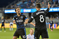 San Jose, CA - Saturday June 24, 2017: Jahmir Hyka, Chris Wondolowski during a Major League Soccer (MLS) match between the San Jose Earthquakes and Real Salt Lake at Avaya Stadium.