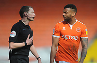 Blackpool's Curtis Tilt remonstrates with referee Peter Wright at half time<br /> <br /> Photographer Kevin Barnes/CameraSport<br /> <br /> The EFL Sky Bet League One - Blackpool v Peterborough United - Saturday 13th April 2019 - Bloomfield Road - Blackpool<br /> <br /> World Copyright &copy; 2019 CameraSport. All rights reserved. 43 Linden Ave. Countesthorpe. Leicester. England. LE8 5PG - Tel: +44 (0) 116 277 4147 - admin@camerasport.com - www.camerasport.com