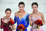 TAIPEI, TAIWAN - JANUARY 25: (L-R) Satoko Miyahara, Kanako Murakami of Japan and Zijun Li of China pose with their medals after the Ladies Free Skating event during the Four Continents Figure Skating Championships on January 25, 2014 in Taipei, Taiwan.  Photo by Victor Fraile / Power Sport Images *** Local Caption *** Satoko Miyahara; Kanako Murakami; Zijun Li