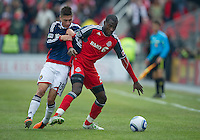 02 April 2011: Chivas USA defender/midfielder Jorge Flores #19 and Toronto FC midfielder Tony Tchani #22 in action during an MLS game between Chivas USA and the Toronto FC at BMO Field in Toronto, Ontario Canada..The game ended in a 1-1 draw...