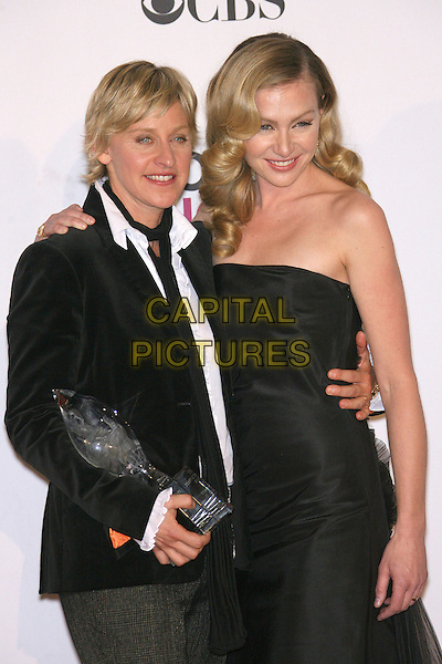ELLEN DeGENERES (winner Favorite Talk Show Host) & PORTIA DE ROSSI.The 33rd Annual People's Choice Awards - Press Room held at The Shrine Auditorium, Los Angeles, California, USA..January 9th, 2007.half length award trophy black suit jacket strapless dress couple.CAP/ADM/ZL.©Zach Lipp/AdMedia/Capital Pictures