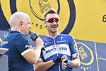 Elia Viviani (ITA) Quick-Step Floors talks with Anthony McCrossan at sign on before the start of Stage 2 The  Ras Al Khaimah Stage of the Dubai Tour 2018 the Dubai Tour&rsquo;s 5th edition, running 190km from Skydive Dubai to Ras Al Khaimah, Dubai, United Arab Emirates. 7th February 2018.<br /> Picture: LaPresse/Massimo Paolone | Cyclefile<br /> <br /> <br /> All photos usage must carry mandatory copyright credit (&copy; Cyclefile | LaPresse/Massimo Paolone)
