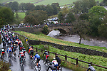 The peloton in action during the Men Elite Road Race of the UCI World Championships 2019 running 280km from Leeds to Harrogate, England. 29th September 2019.<br /> Picture: Alex Whitehead/SWpix.com | Cyclefile<br /> <br /> All photos usage must carry mandatory copyright credit (© Cyclefile | Alex Whitehead/SWpix.com)