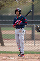 Cleveland Indians outfielder George Valera (32) during a Minor League Spring Training game against the Chicago White Sox at Camelback Ranch on March 16, 2018 in Glendale, Arizona. (Zachary Lucy/Four Seam Images)