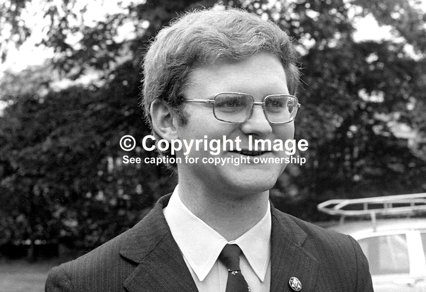 Marvin Gowdy, unsuccessful candidate,Vanguard Unionist Progressive Party, VUPP, in South Belfast in N Ireland Assembly Election 1973. 197306000401b..Copyright Image from Victor Patterson, 54 Dorchester Park, Belfast, United Kingdom, UK...For my Terms and Conditions of Use go to http://www.victorpatterson.com/Victor_Patterson/Terms_%26_Conditions.html