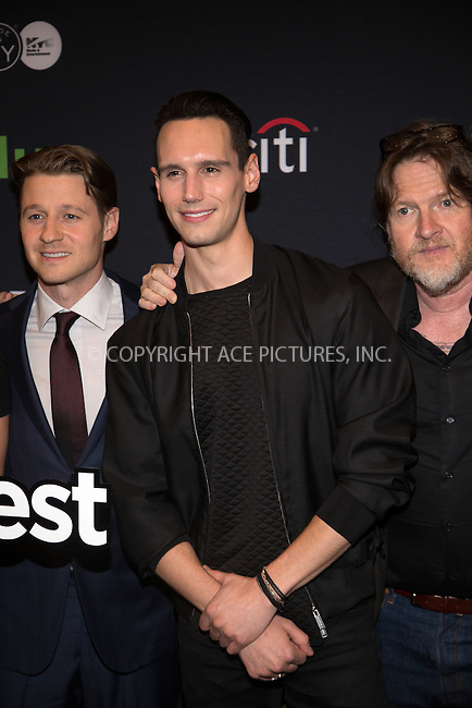 www.acepixs.com<br /> <br /> October 19 2016, New York City<br /> <br /> Actors Ben McKenzie (L), Cory Michael Smith and Donal Logue attending PaleyFest New York 2016 presents 'Gotham' at The Paley Center for Media on October 19, 2016 in New York City.<br /> <br /> By Line: Serena Xu/ACE Pictures<br /> <br /> <br /> ACE Pictures Inc<br /> Tel: 6467670430<br /> Email: info@acepixs.com<br /> www.acepixs.com