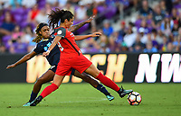 Orlando, FL - Saturday October 14, 2017: Nadia Nadim, Jessica McDonald during the NWSL Championship match between the North Carolina Courage and the Portland Thorns FC at Orlando City Stadium.
