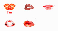 Close up of different lips wearing lipstick