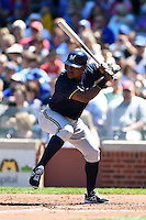 Milwaukee Brewers shortstop Elian Herrera (3) at bat during a game against the Chicago Cubs on August 14, 2014 at Wrigley Field in Chicago, Illinois.  Milwaukee defeated Chicago 6-2.  (Mike Janes/Four Seam Images)