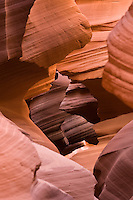Looking down a portal in Lower Antelope Canyon, Page Arizona, October 2007