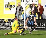 Cappellen (rood) vs. Hamoir :<br />15 minuten gespeeld. Guillaume Legros van Hamoir trapt de 0-1 tussen de palen.