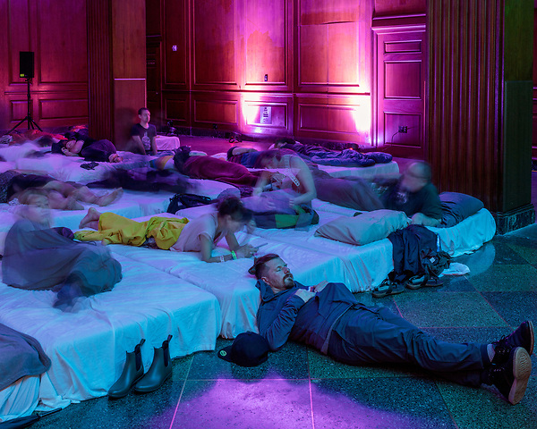 May 18, 2018. Durham, North Carolina.<br /> <br /> Valgeir Sigurðsson and Liam Byrne presented the Sleep Concert in the main gallery of the 21c Hotel. Mattresses were provided for attendees to rest and immerse themselves in the atmospheric music. <br /> <br /> Moogfest 2018 showcases 4 days of music, art and technology spread out amongst venues in and around downtown Durham.