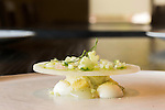 May 8, 2015. Chapel Hill, North Carolina.<br />  The Lime Leaf Ice at [ONE] Restaurant includes lemongrass custard, salted cucumber ice cream and mint.<br />  [ONE] Restaurant, located in Chapel Hill's Meadowmont development, specializes in contemporary cuisine, with an emphasis on flavor pairings and unique ingredients. <br />  Outsiders tend to lump Chapel Hill with nearby Durham, but the more sensible pairing is with Carrboro, the adjacent town that was once a mere offshoot known as West End. Even today the transition from Chapel Hill, anchored by North Carolina''s flagship public university, into downtown Carrboro is virtually seamless.