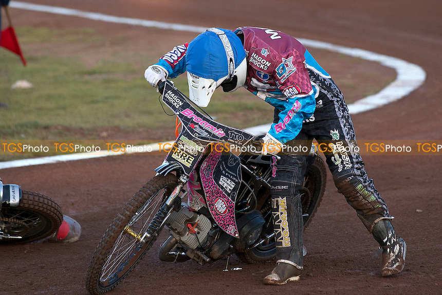 Robert Mear picks himself up after coming to grief at the third - heat 2 - Lakeside Hammers vs Belle Vue Aces - Sky Sports Elite League Speedway at Arena Essex Raceway, Purfleet - 03/08/12 - MANDATORY CREDIT: Ray Lawrence/TGSPHOTO - Self billing applies where appropriate - 0845 094 6026 - contact@tgsphoto.co.uk - NO UNPAID USE.
