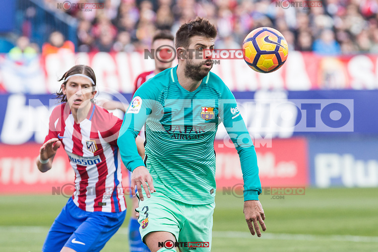 Gerard Pique of Futbol Club Barcelona in action during the match of Spanish La Liga between Atletico de Madrid and Futbol Club Barcelona at Vicente Calderon Stadium in Madrid, Spain. February 26, 2017. (ALTERPHOTOS) /NortEPhoto.com