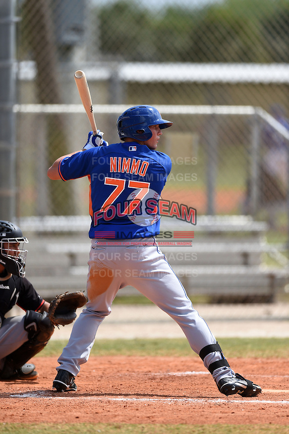 New York Mets outfielder Brandon Nimmo (77) during a minor league spring training game against the Miami Marlins on March 28, 2014 at Roger Dean Stadium in Jupiter, Florida.  (Mike Janes/Four Seam Images)