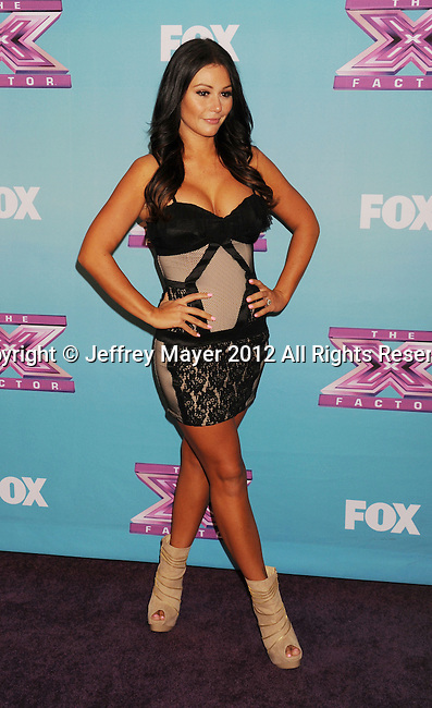LOS ANGELES, CA - DECEMBER 19: Jenni 'Jwoww' Farley arrives at Fox's 'The X Factor' Season Finale Night 1 at CBS Televison City on December 19, 2012 in Los Angeles, California.