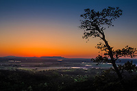 Sunset looking over the Akransas River Valley from the CCC overlook at Petit Jean State Park in Arkansas