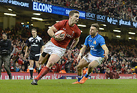 Wales George North goes over to think he's scored his third try only for it not to be given <br /> <br /> Photographer Ian Cook/CameraSport<br /> <br /> 2018 NatWest Six Nations Championship - Wales v Italy - Sunday 11th March 2018 - Principality Stadium - Cardiff<br /> <br /> World Copyright &copy; 2018 CameraSport. All rights reserved. 43 Linden Ave. Countesthorpe. Leicester. England. LE8 5PG - Tel: +44 (0) 116 277 4147 - admin@camerasport.com - www.camerasport.com