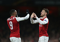 Arsenal's Aaron Ramsey celebrates scoring his side's third goal with Alexandre Lacazette<br /> <br /> Photographer Rob Newell/CameraSport<br /> <br /> UEFA Europa League Quarter-Final First Leg - Arsenal v CSKA Moscow - Thursday 5th April 2018 - The Emirates - London<br />  <br /> World Copyright &copy; 2018 CameraSport. All rights reserved. 43 Linden Ave. Countesthorpe. Leicester. England. LE8 5PG - Tel: +44 (0) 116 277 4147 - admin@camerasport.com - www.camerasport.com