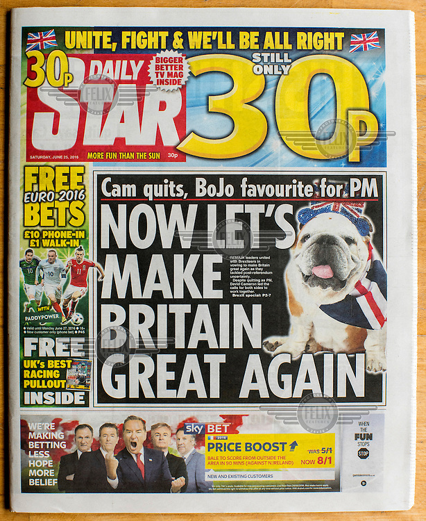 The front cover of the Eurosceptic tabloid, The Star, on 25 June 2016, two days after the EU referendum. The Star supported the Leave (the EU) side during the campaign leading up to the vote.
