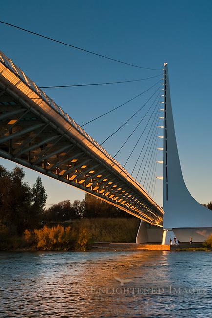 Sunset on the Sundial Bridge, over the Sacramento River, Redding, California