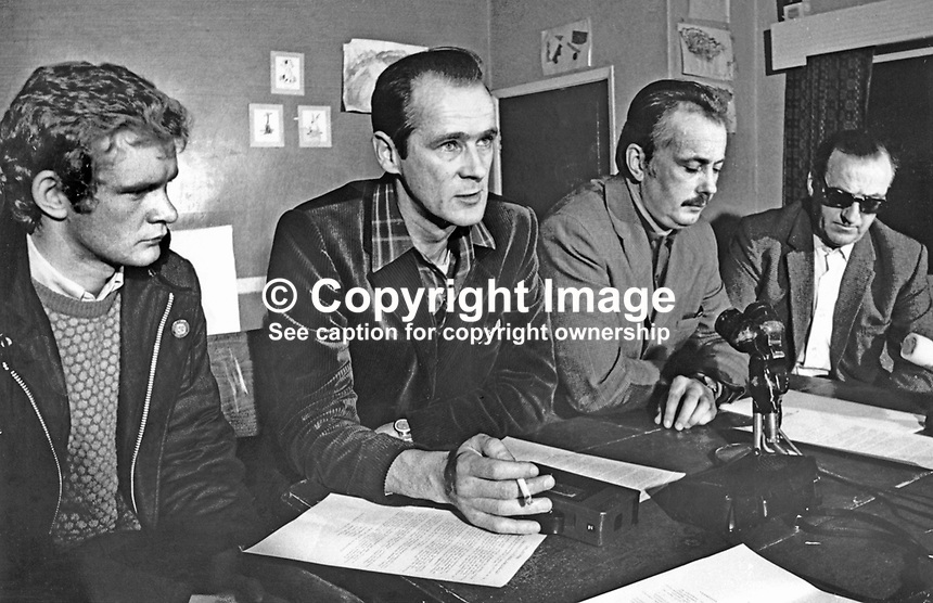 David O'Connell, aka Daithi O Conaill, prominent member, speaking at Provisional IRA press conference, Bogside, Londonderry, N Ireland, UK, 13 June 1972. Also in the photograph (from left) are Martin McGuinness, Sean MacStiofain and Seamus Twomey. The purpose of the press conference was to announce a ceasefire proposal.  197206130393b<br />