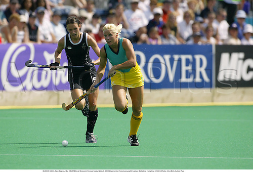 HUDSON NIKKI, New Zealand 3 v 4 AUSTRALIA, Women's Bronze Medal Match, 2002 Manchester Commonwealth Games, Belle Vue Complex, 020803. Photo: Glyn Kirk/Action Plus...ball .field.woman  ....................................................