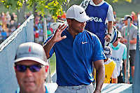Tiger Woods (USA) waves to the crowd as he walks to the clubhouse after finishing on the 18th hole during the third round of the 100th PGA Championship at Bellerive Country Club, St. Louis, Missouri, USA. 8/11/2018.<br /> Picture: Golffile.ie | Brian Spurlock<br /> <br /> All photo usage must carry mandatory copyright credit (&copy; Golffile | Brian Spurlock)