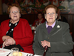 Maureen Corbally and Sheila Rafferty pictured at the Collon Senior Citizens Christmas party in Watter's. Photo:Colin Bell/pressphotos.ie