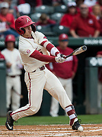 NWA Democrat-Gazette/BEN GOFF @NWABENGOFF<br /> Casey Martin, Arkansas shortstop, hits a single in the 3rd inning vs LSU Saturday, May 11, 2019, at Baum-Walker Stadium in Fayetteville.