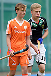 GER - Mannheim, Germany, May 16: During the whitsun tournament boys hockey match between Germany (black) and The Netherlands (orange) on May 16, 2016 at Mannheimer HC in Mannheim, Germany. Final score 4-3 (HT 2-0). (Photo by Dirk Markgraf / www.265-images.com) *** Local caption *** Mario Schachner #10 of Germany (U16)