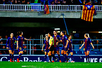 28th March 2018, Mini Estad, Barcelona, Spain; Womens Champions League football, quarter final, 2nd leg, Barcelona Women versus Lyon Women; FC Barcelona team argues with the referee who just awarded Lyon a goal for 0-1