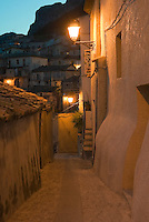 Italy, Calabria, Stilo: old town, lanes at night. Small town at Monte Consolino