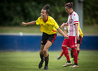 Natalie Murray of Watford Ladies celebrates her 2nd goal during the pre season friendly match between Stevenage Ladies FC and Watford Ladies at The County Ground, Letchworth Garden City, England on 16 July 2017. Photo by Andy Rowland / PRiME Media Images.